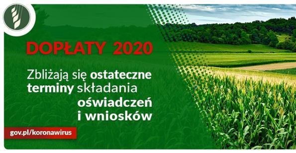 Dopłaty 2020 – ostateczne terminy składania oświadczeń i wniosków