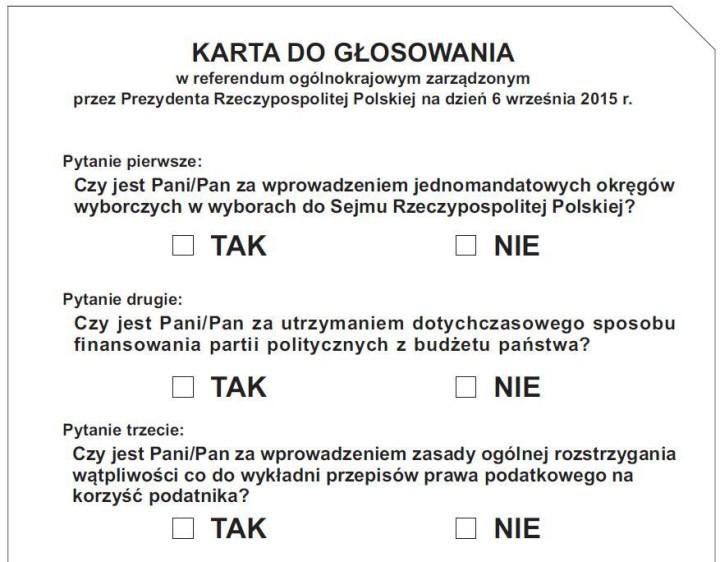 karta do głosowania kr za ustawą