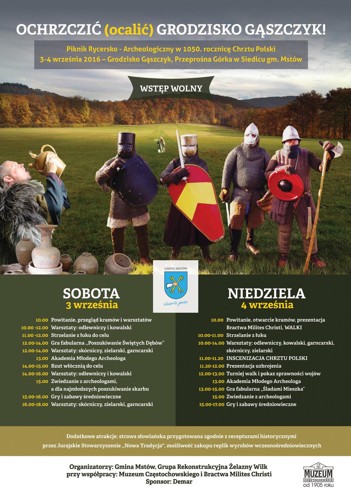 plakat Ochrzcić Grodzisko - Piknik Rycersko-Archeologiczny